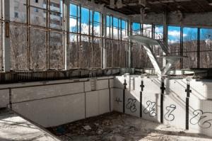 Empty swimming pool in Chernobyl