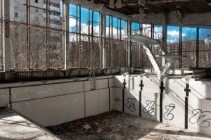 Empty swimming pool in Chernobyl