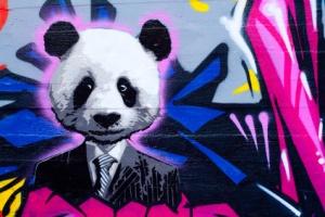 Suited panda