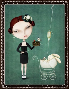 Conceptual illustration or vintage card with girl and bunny