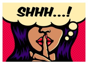 Shhh! Less talk, more action, glamorous woman making silence gesture with finger on lips comic book pop art style vector poster illustration
